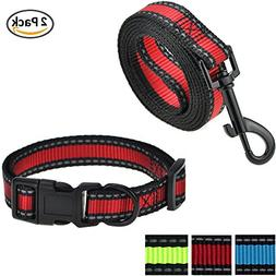 Mile High Life Dog Leash, Collar Combo Pack | RED| Reflectiv