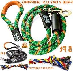 DOG LEASH Heavy Duty 5 Ft Padded Leather Handle Bright Refle