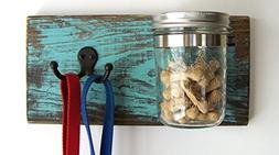 Dog Leash Holder and Treat Jar Organizer by Out Back Craft S