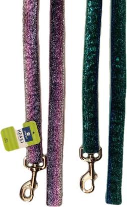 Dog Leash Purple Pink or Green Blue Glitter Sparkles Top Paw