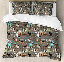 Ambesonne Dog Lover Duvet Cover Set Queen Size by, Paw Print
