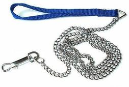 Dog Pet Puppy Leash Training Lead CHAIN w/ Nylon Handle Swiv