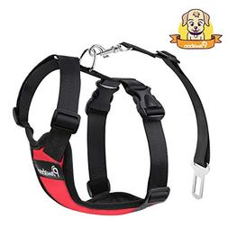 PAWABOO Dog Safety Vest Harness, Pet Dog Adjustable Car Safe