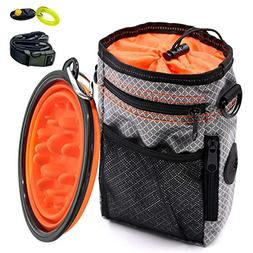 Dog Treat Training Pouch, Collapsible Slow Feeder Bowl and P