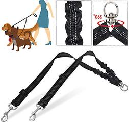 SlowTon Double Dog Adjustable Leash, Two Dog Bungee Lead No