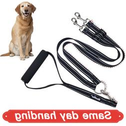 Double Dog Leash With Soft Handle Durable No Tangle Reflecti