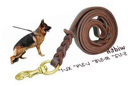 Fairwin Braided Leather Dog Leash 6 ft - K9 Walking Training