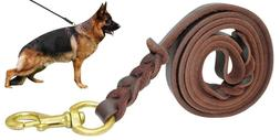 fairwin braided leather dog leash 6 ft