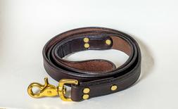 Genuine Leather Amish Handmade Dog Leash 4ft x 1in, brass ri