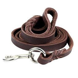 Dogs Kingdom Genuine Leather Braided Brown Dog Leash 4Ft/5Ft