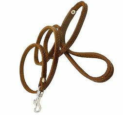 "Genuine Leather Dog Leash 3/8"" wide Poodle, Yorkshire Terrie"
