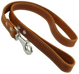 genuine thick leather dog leash 4 long