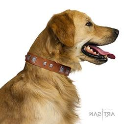 FDT Artisan 30 inch Handmade Tan Leather Dog Collar with Chr