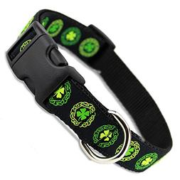 The Artful Canine Irish Dog Collar with Celtic Knots on Blac