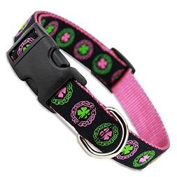 The Artful Canine Irish Dog Collar with Celtic Knots on Pink