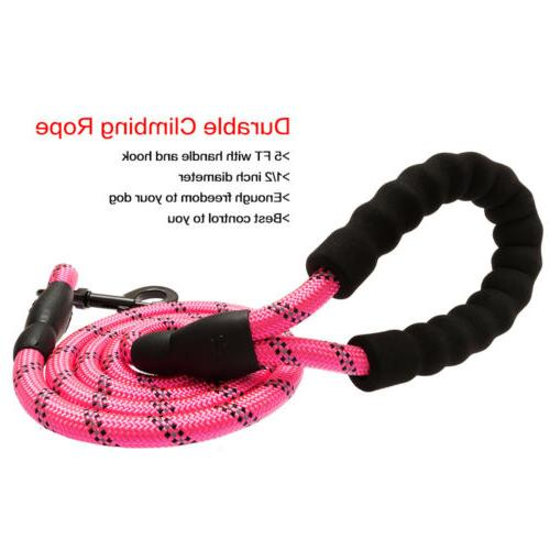 5FT Heavy-duty Dog Leash Lead Handle Reflective Nylon Leash