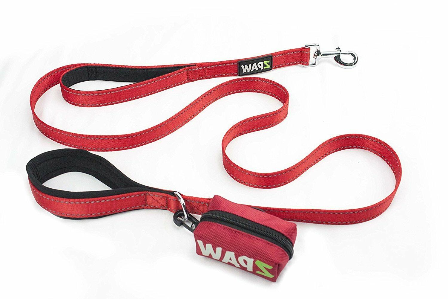 Dog Leash 4ft Long Heavy Duty Nylon Double Padded Handle RED