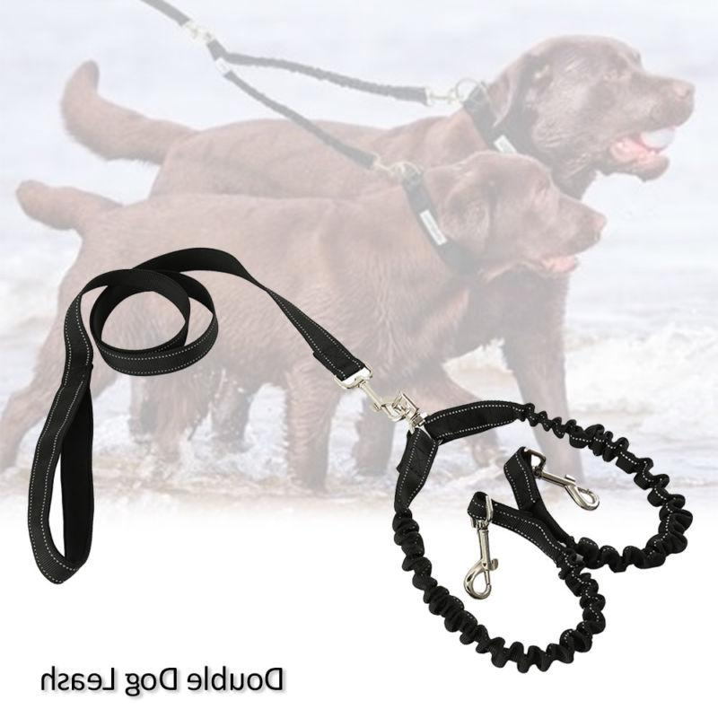 Dual Double Dog Lead Rope No Tangle Coupler Nylon Leash for