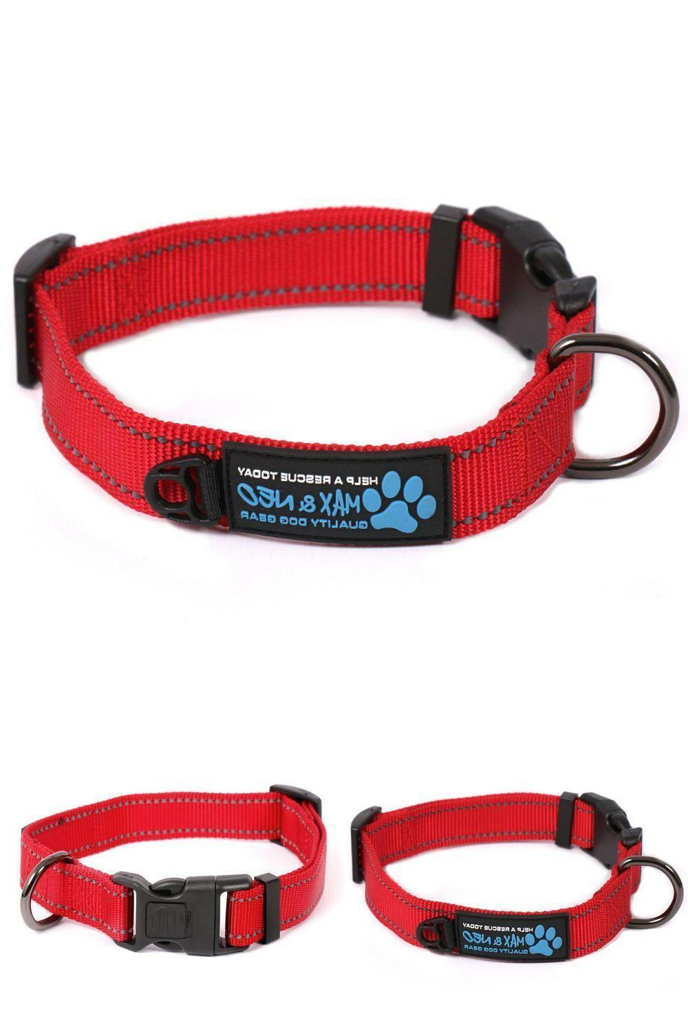 Max and Neo Dog Gear NEO Reflective Dog Collar - Small Red