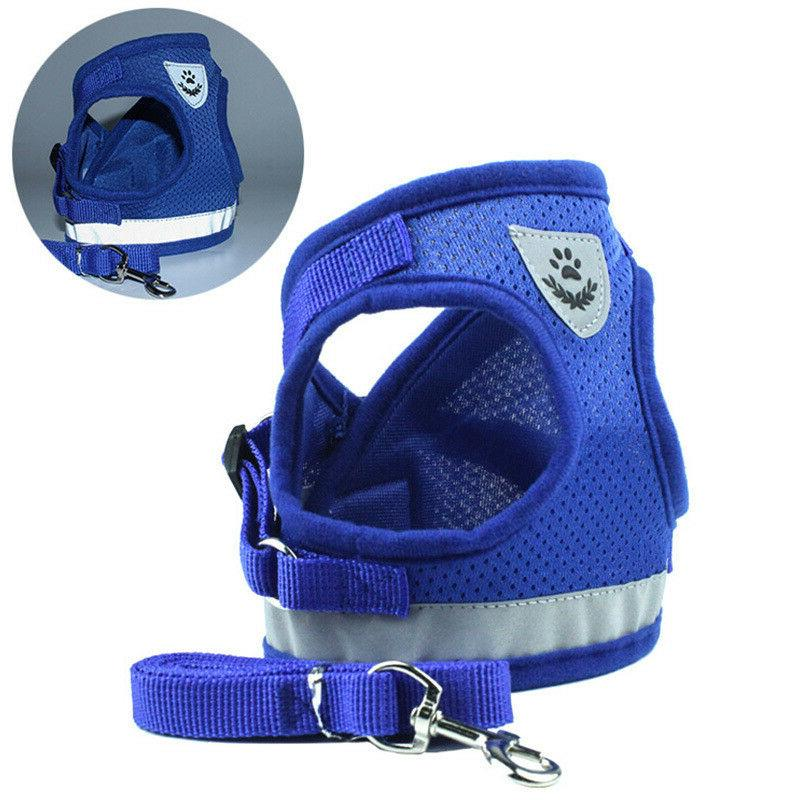 Small Dog Breathable harness Vest Collar chest strap set