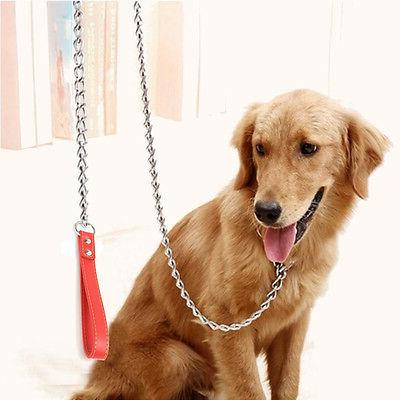 "Chrome Dog Leash Leather 36"" long 2/3/4"