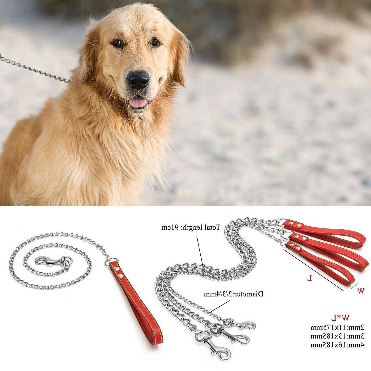 chrome heavy duty chain dog pet lead