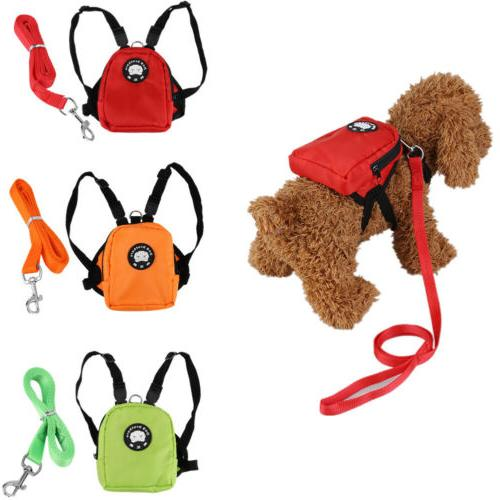 Cute Dog Harness Bag with Leash Pet Backpack Doggie Hiking C