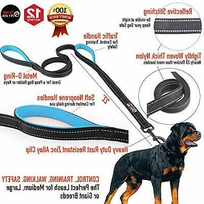 Dog Leash New Stronger Clip Duty Double Handles