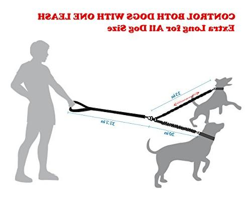 Dual Double Dog Leash,360° & Training Shock Absorbing Bungee for waste bag dog training clicker