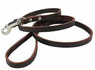 "Genuine Leather Dog Leash 4 Ft long, 1/2"" wide for Small and"
