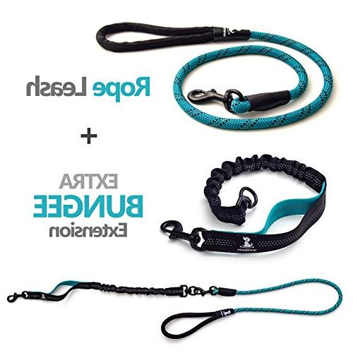 SparklyPets Heavy Duty Rope Leash Medium Bungee Shock - Reflective Leash for Suitable for and Walking