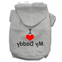 I Love My Daddy Screen Print Pet Hoodies Grey Size XL