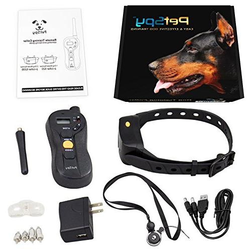 PetSpy Shock with Vibration, Electric Shock, Beep; Rechargeable 10-120