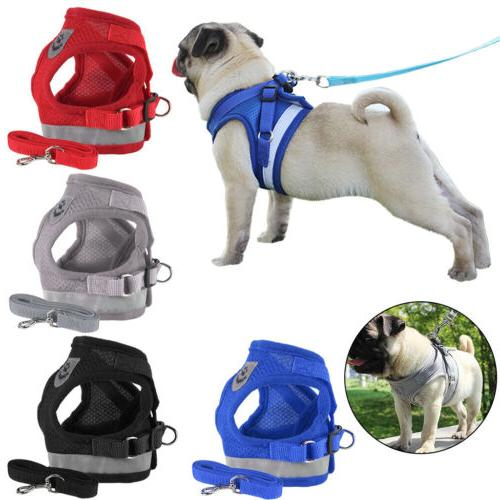 USA Reflective Dog Harness Leash Nylon Pet Cat Soft Mesh Ves