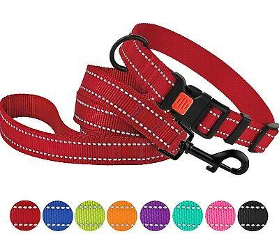 reflective dog collar leash set pet puppy