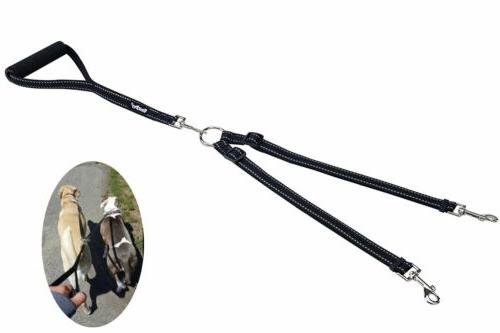 Reflective Double Dog Leash No Tangle with Handle   Lead  fo