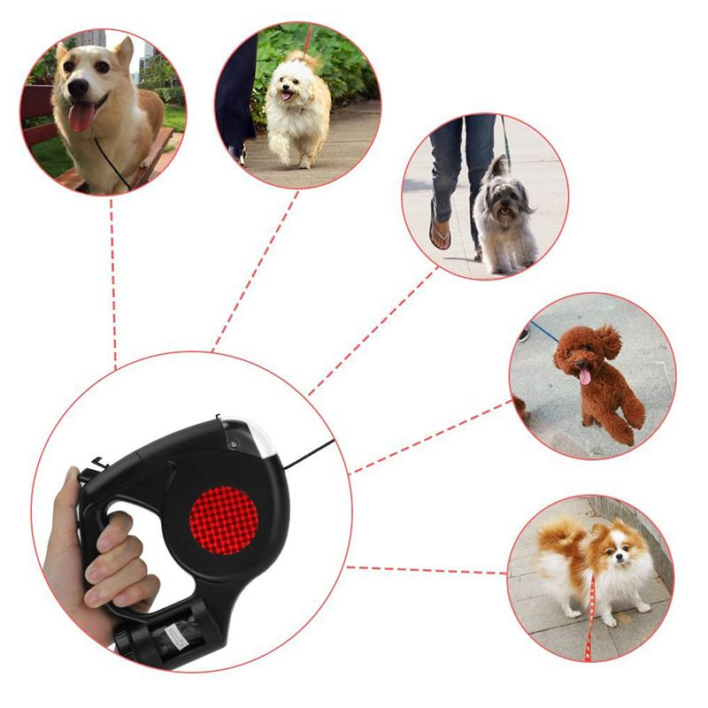 Retractable in <font><b>Dog</b></font> with Flashlight Dispenser Small <font><b>Dogs</b></font> Pet Cat Traction Rope