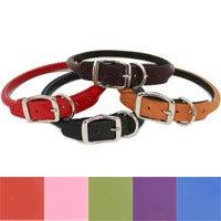 "Round Dog Collar Color: Red, Size: 0.63"" x 14"""