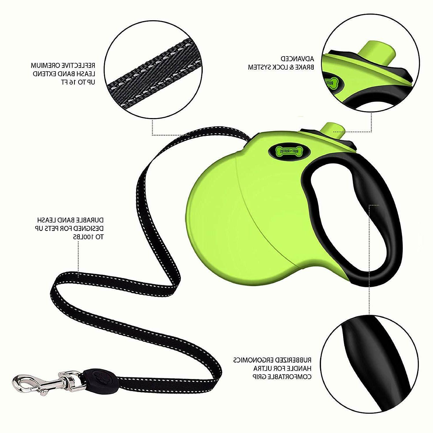 Retractable Dog Leash 16 Feet Ruff Ruffes Neon Green