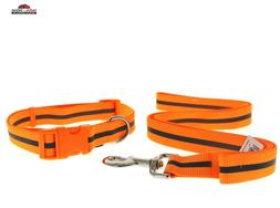 Large Dog Collar and Leash Set Orange Reflective ~ NEW