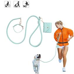 Leather Dog Leash and Collar Set With Retractable Food Stora