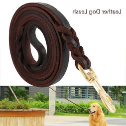 Leather Dog Leash Large Medium Dogs Heavy Duty Braided For T