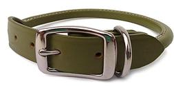 Auburn Leathercrafters Rolled Dog Collar - 12 GREEN