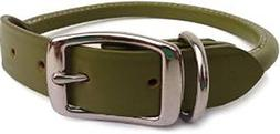 Auburn Leathercrafters Rolled Dog Collar - 10 GREEN