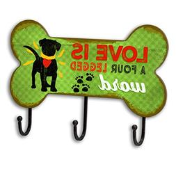 Love is a four legged word Dog Leash Holder Hook Rack, Bone