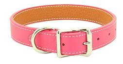 Luxury Italian Leather Tuscany Dog Collar - Pink - 16