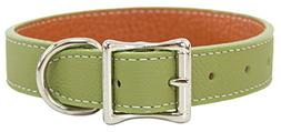 Luxury Italian Leather Tuscany Dog Collar - Moss Green - 18