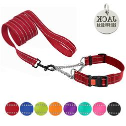 Martingale Dog Collar Lead Leash Set Half Check Choke Collar