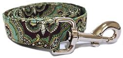 CritterGear Matching Leash in Brown Green Gold Paisley