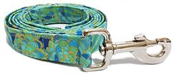CritterGear Matching Leash in Teal Blue and Gold Paisley